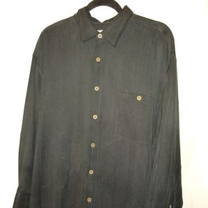 Tommy Bahama 100% Silk Black Long Sleeve